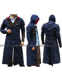 Assassins Creed Unity Arno Victor Dorian Costume Cloak Denim Hooded Coat