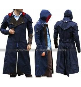 Assassins Creed Unity Arno Victor Dorian Costume Cloak Denim Hooded Coat