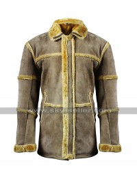 Mens B3 Aviator Pilot Flying Fur Shearling Tan Brown Jacket Suede Leather Coat