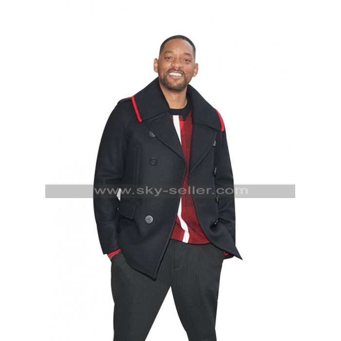Bad Boys for Life Event Will Smith Black Wool Pea Coat