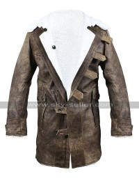 Tom Hardy Dark Knight Rises Bane Costume Fur Shearling Brown Leather Coat