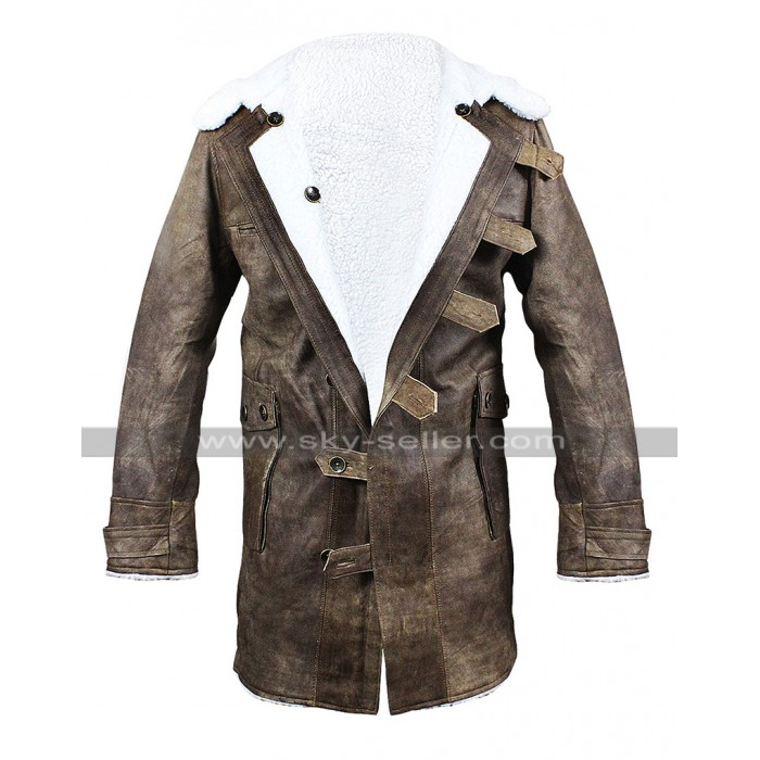Tom Hardy Dark Knight Rises Bane Costume Fur Shearling Brown Leather Coat