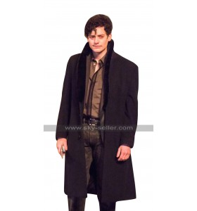 The Goldfinch Aneurin Barnard (Boris) Fur Collar Black Wool Trench Coat