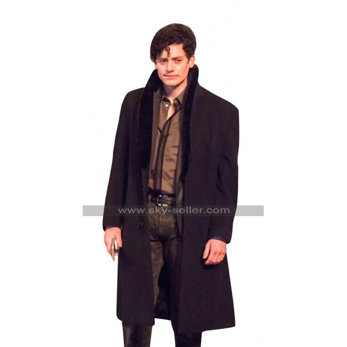 The Goldfinch Aneurin Barnard (Boris) Fur Collar Black Wool Trench Coat
