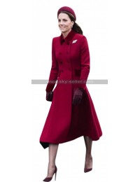 Duchess Of Cambridge Princess Catherine Kate Middleton Red Wool Coat
