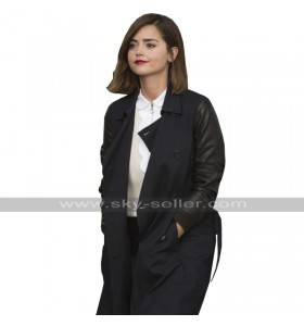 Clara Oswald Doctor Who Jenna Coleman Double Breasted Black Leather Coat