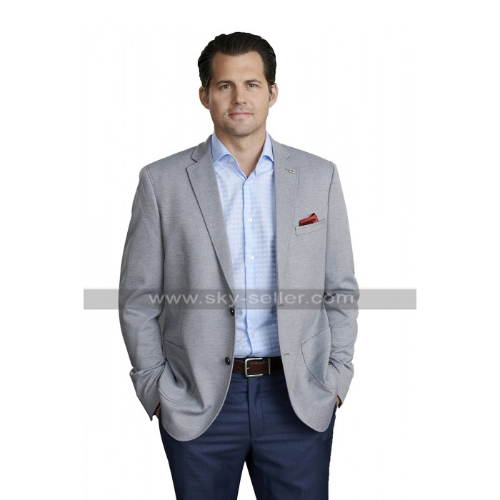 Kristoffer Polaha Coat Double Holiday Christsmas Jacket Grey Suit Blazer