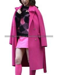 Lily Collins Emily In Paris Hot Pink Coat