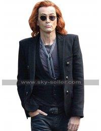 David Tennant Good Omens Crowley Black Jacket Wool Pea Coat For Men