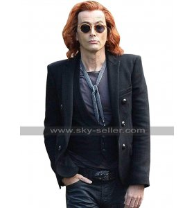 David Tennant Good Omens Crowley Black Jacket Wool Pea Coat For Men