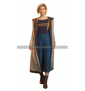Womens Jodie Whittaker 13 Doctor Who Grey Cotton Hooded Trench Coat