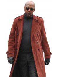 Samuel L Jackson John Shaft II Brown Suede Leather Trench Coat