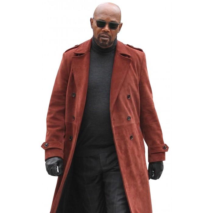 Samuel L Jackson John Shaft II Brown Suede Leather Trench Coat