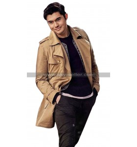 Henry Golding Last Christmas 2019 Tom Beige Cotton Coat