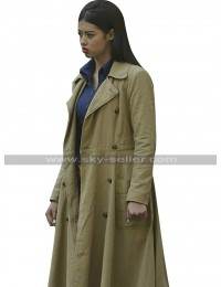 Amber Midthunder Legion Kerry Loudermilk Brown Cotton Trench Coat