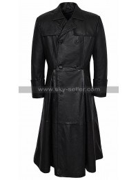 The Matrix Laurence Fishburne Vintage Black Leather Coat Double Breasted Costume