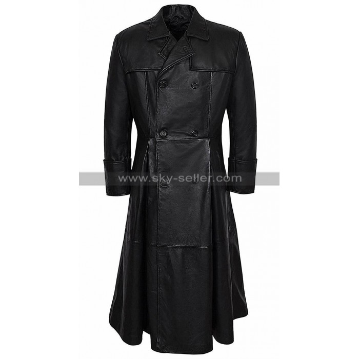 The Matrix Laurence Fishburne Vintage Black Leather Coat Double Breasted Costume