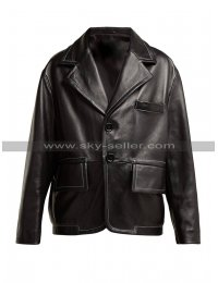 Mens Black Leather Blazer Jacket Formal Wedding Party Coat