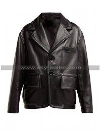 Mens Black Leather Blazer Jacket Formal Wedding Party Coat