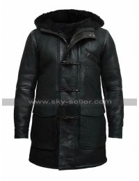 Mens Winter Duffle Coat Fur Shearling Hooded Black Genuine Leather Coat