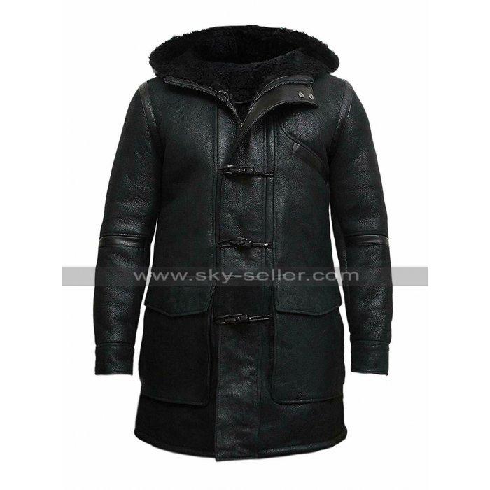 Mens Winter Duffle Coat Fur Shearling Hooded Black Genuine Leather Coat