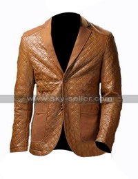 Mens Leather Blazer Formal Brown Leather Coat Tuxedo Jacket for Boys