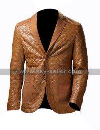 Mens Leather Blazer Formal Brown Leather Coat Tuxedo Jacket for Boys