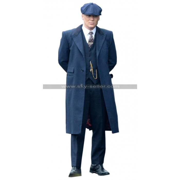 Thomas Shelby Peaky Blinders Cillian Murphy Blue / Black Wool Trench Coat