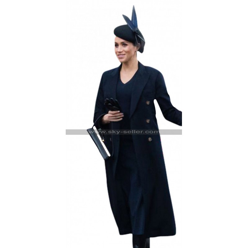 Duchess Of Sussex Princess Meghan Markle Navy Blue Trench
