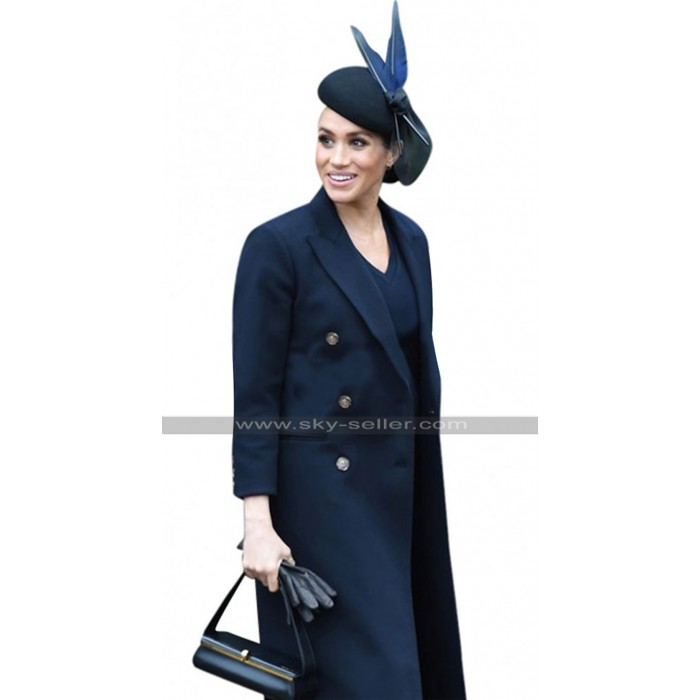 Duchess Of Sussex Princess Meghan Markle Navy Blue Trench Cotton Coat