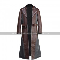 Mens PUBG Costume Hoodie Player Unknown's Battlegrounds Brown Leather Coat