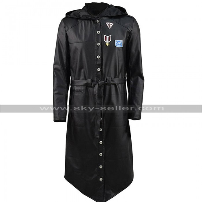 Mens Player Unknown's Battlegrounds Hooded Black PUBG Costume Leather Coat