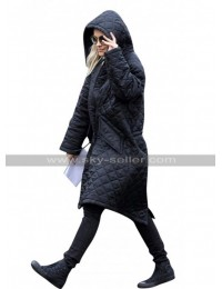 Rita Ora English Singer Black Hoodie Quilted Parachute Coat Jacket