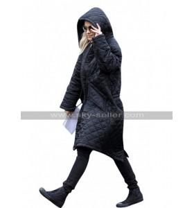 Rita Ora English Singer Black Hoodie Quilted Parachute Coat Jacket