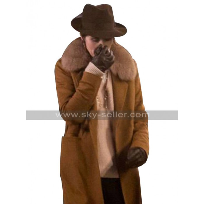The Gentlemen Michelle Dockery Brown Fur Coat in Wool Material