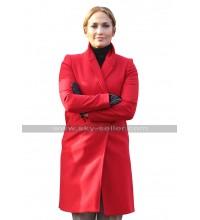 Jennifer Lopez Second Act Maya Red Duffel Wool Trench Coat
