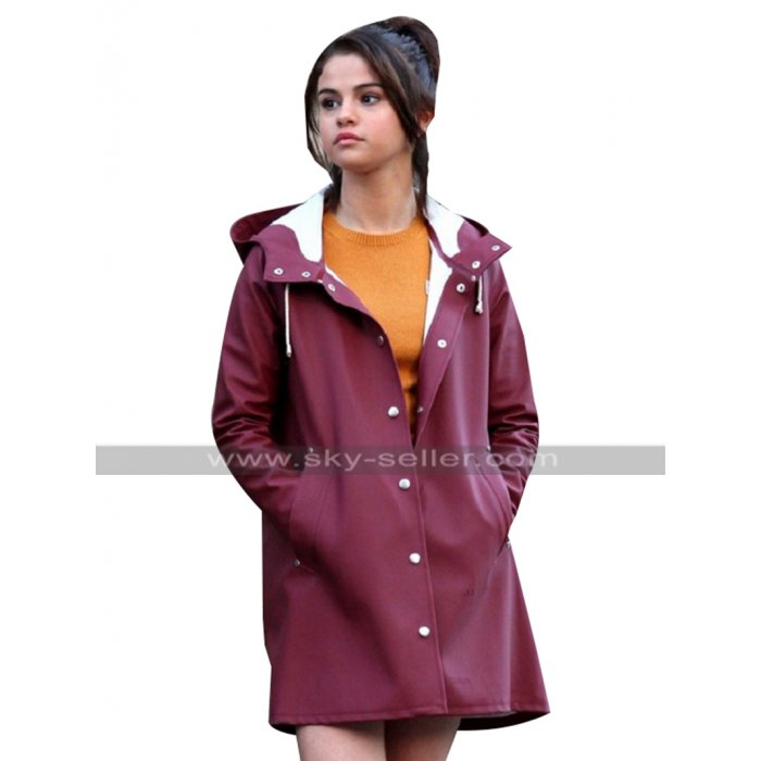 A Rainy Day in New York Selena Gomez Coat Burgundy Parachute Raincoat