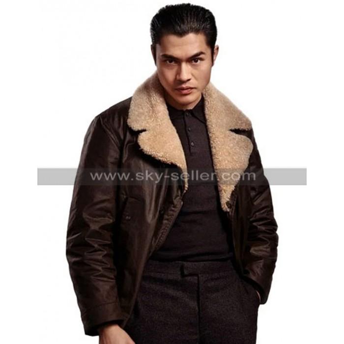Henry Golding The Gentlemen Dry Eye Fur Collar Brown Leather Coat