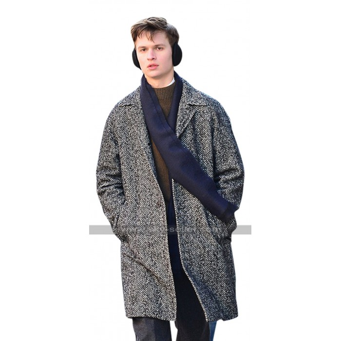 Ansel Elgort The Goldfinch Theodore Decker Grey Wool Trench Coat