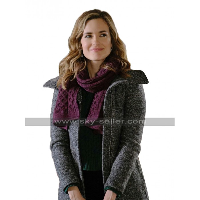 Jessica Write Before Christmas 2019 Torrey DeVitto Grey Wool Coat Zipper Style