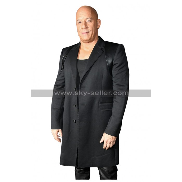 Vin Diesel Bloodshot Movie Premiere Black Coat in Wool and Cotton