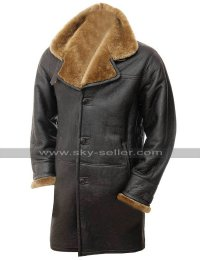 Mens Winter Outfit Warm Fur Shearling Brown Genuine Leather Coat