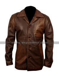 Mens Slim Fit Biker Style Leather Blazer Coat Distressed Jacket