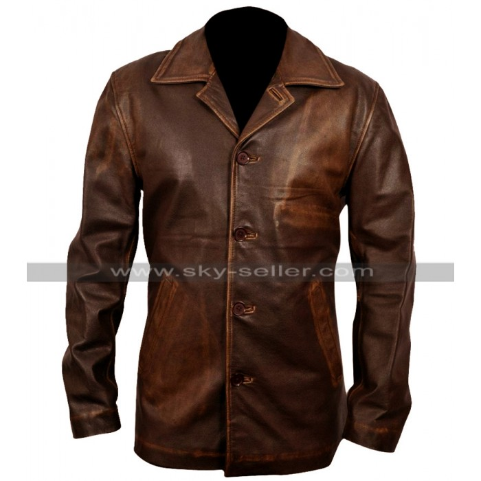Mens Slim Fit Biker Style Leather Blazer Coat Distressed Jacket