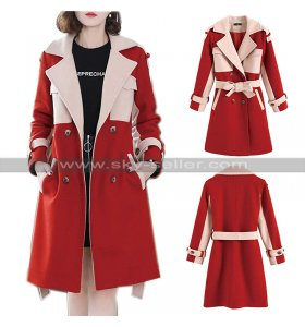 Womens Double Breasted Wool Pea Coat Red and Pink Winter Outfit for Girls