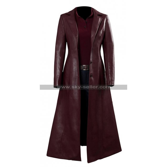 X-Men Dark Phoenix Jean Grey Coat Sohpie Turner Maroon Leather Coat