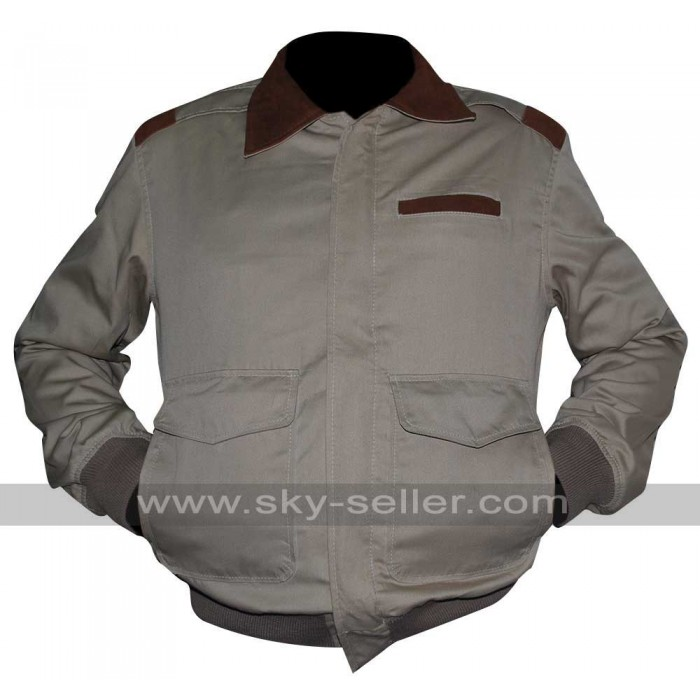 A2 Flight Cotton Cockpit Pilot Bomber Leather Collar Jacket