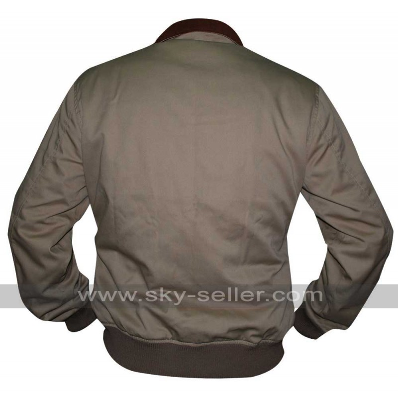 Flight Cotton Cockpit Pilot Bomber Leather Collar Jacket