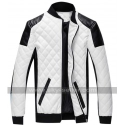 Cotton Padded Motorcycle Leather Patch Jacket
