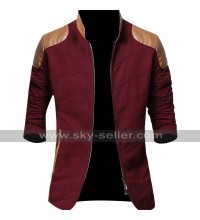 Leather Padded Slimfit Cotton Red Jacket